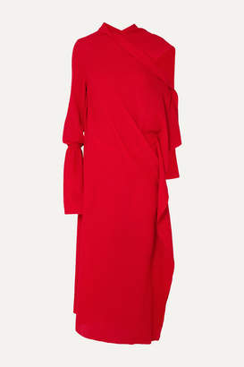 Roland Mouret Carmel Asymmetric Draped Wool-crepe Maxi Dress - Red