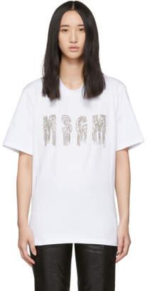 MSGM White Chain Logo T-Shirt