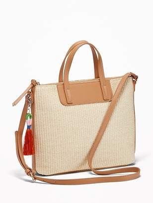 Old Navy Straw/Faux-Leather Shoulder Bag for Women