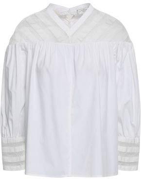 Sandro Lace-trimmed Gathered Cotton-poplin Shirt