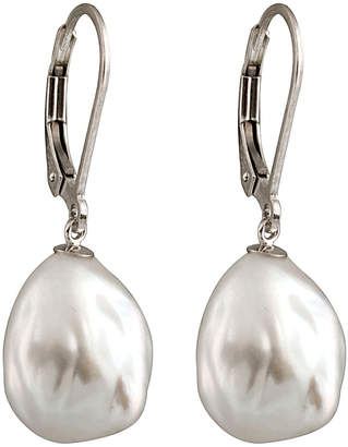 Splendid Pearls Silver Plated 11-12Mm Freshwater Pearl Drop Earrings