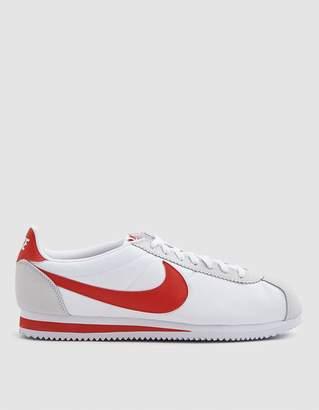 Nike Classic Cortez Nylon Sneaker in White/Habanero Red