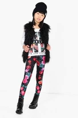 boohoo Girls Floral Print NY Tee & Legging Set