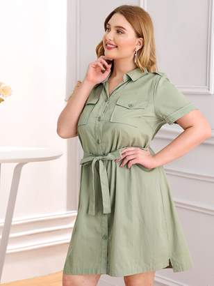 Shein Plus Double Pocket Self Tie Shirt Dress