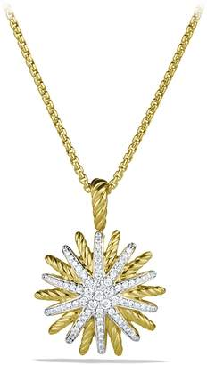 David Yurman 'Starburst' Small Pendant with Diamonds in Gold on Chain