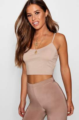 boohoo Petite Basic Strappy Crop Top
