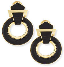 David Webb 18k Gold Ebony Doorknocker Earrings