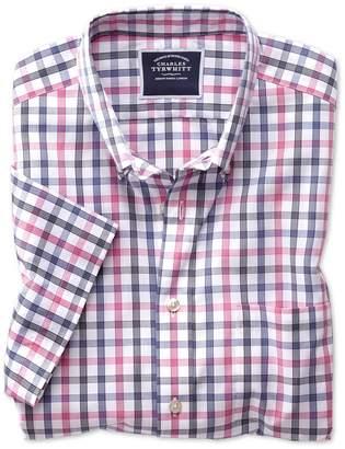 Charles Tyrwhitt Slim Fit Non-Iron Pink Large Check Short Sleeve Cotton Casual Shirt Single Cuff