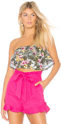 J.o.a. Printed Strapless Ruffled Crop Top