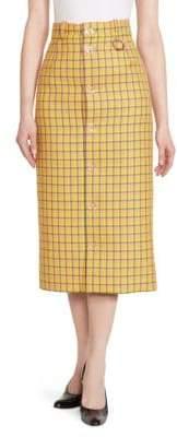 Balenciaga Women's Plaid Wool Midi Pencil Skirt - Yellow - Size 36 (2)