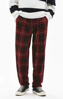 PacSun Slim Taper Pleated Plaid Chino Pants