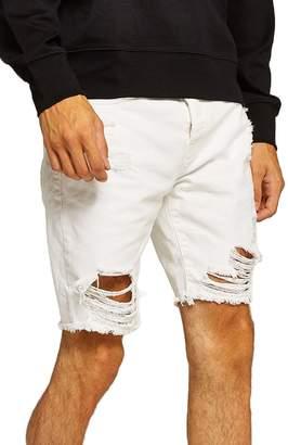 Topman Slim Fit Shredded Jean Shorts