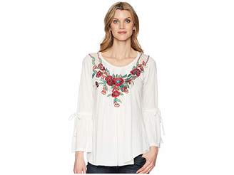 Scully Babe Soft Embroidered Bell Sleeve Tunic Women's Clothing