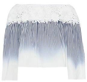 Milly Guipure Lace-Paneled Striped Dégradé Stretch-Cotton Top