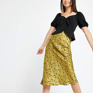 River Island Petite yellow floral bias cut midi skirt