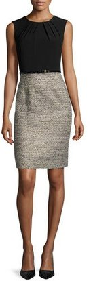 Albert Nipon Two-Tone Sheath Dress W/Matching Jacket, Black/Gold $395 thestylecure.com