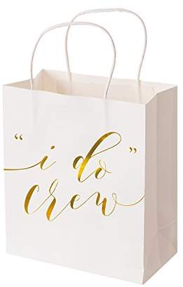 Ling's moment Set of 12 White Gold I Do Crew Bridesmaid Gift Bags for Wedding Bridal Party Bachelorette Party Gift Bags