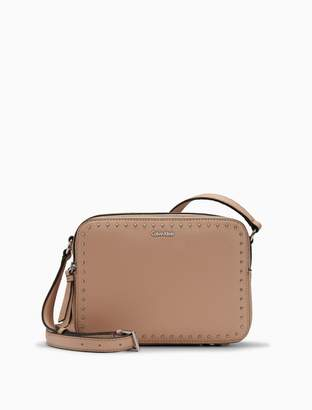 Calvin Klein pebble leather studded dual zip crossbody bag