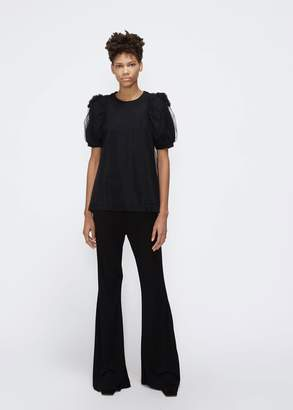 Simone Rocha Ruched Flower Sleeve Tulle T-Shirt