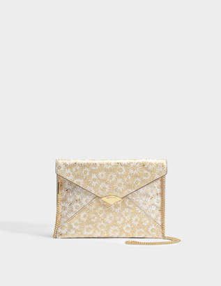 959729fc06e9 MICHAEL Michael Kors Barbara Large Soft Envelope Clutch in Optic Gold  Metallic Flower Embossed Leather