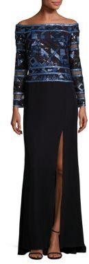 Tadashi Shoji Embellished Off-The-Shoulder Gown $448 thestylecure.com