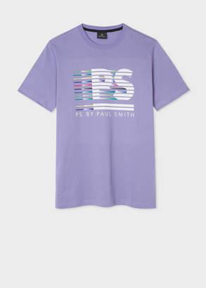 Paul Smith Men's Light Purple 'PS Stripe' Print T-Shirt