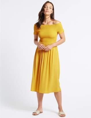 Marks and Spencer Short Sleeve Bardot Midi Dress