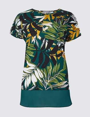 Marks and Spencer Cotton Rich Palm Print Short Sleeve Tunic