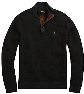Polo Ralph Lauren Men's Regular-Fit Buttoned Mockneck Merino Wool Sweater