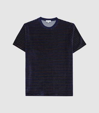 Reiss Terrance - Striped Towelling T-shirt in Navy/orange