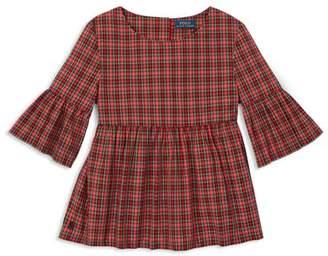 Ralph Lauren Girls' Poplin Plaid Bell-Sleeve Top - Big Kid