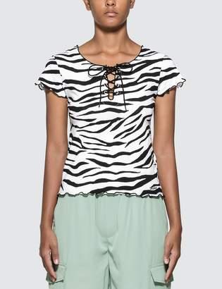 X-girl X Girl Zebra Print Lace Up T-shirt