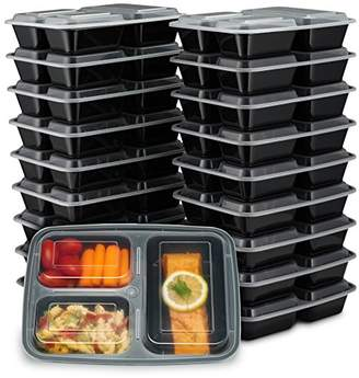 EZ Prepa [20 Pack] 32oz 3 Compartment Meal Prep Containers with Lids - Bento Box - Durable BPA Free Plastic Reusable Food Storage Containers - Stackable