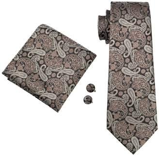 CAOFENVOO Men's Tie Hanky Cufflinks Jacquard Woven Silk Necktie N-1121