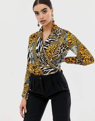 Club L London wrap front detail bodysuit in print