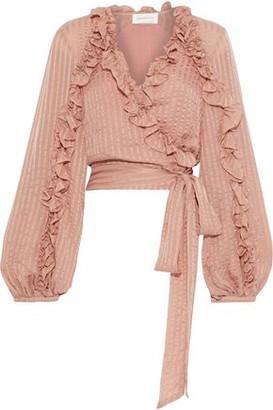 Zimmermann Cascade Ruffle-trimmed Striped Silk-chiffon Wrap Blouse