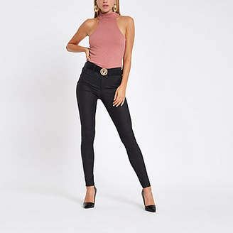 River Island Womens Pink high neck cut out bodysuit