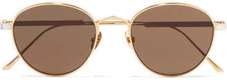 Cartier Eyewear - Round-frame Gold And Silver-plated Sunglasses