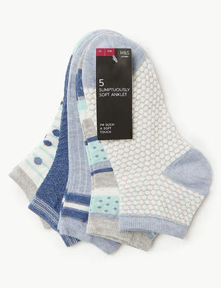 Marks and Spencer 5 Pair Pack Sumptuously Soft Ankle Socks