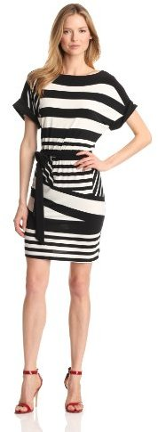 Tiana B Women's Combo Stripe Belted Dress