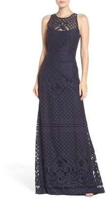 Women's Vera Wang Illusion Yoke Lace Maxi Dress $368 thestylecure.com