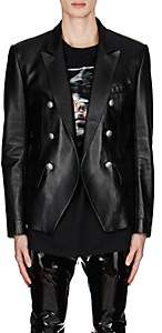 Balmain Men's Leather Double-Breasted Sportcoat-Black