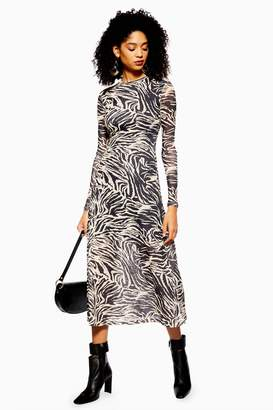 Topshop Womens Zebra Print Mesh Midi Dress - Stone