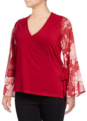 INC International Concepts Plus Printed Bell-Sleeve Wrap Top