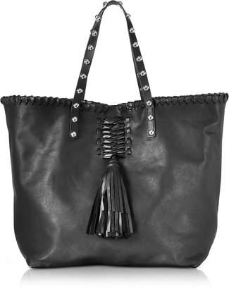 RED Valentino Black Leather Tote Bag w/Fringe Tassel