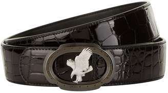 Stefano Ricci Flying Eagle Patent Crocodile Skin Belt