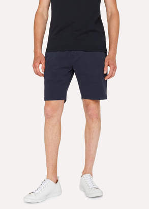 Paul Smith Men's Dark Navy Garment-Dyed Stretch Pima-Cotton Shorts