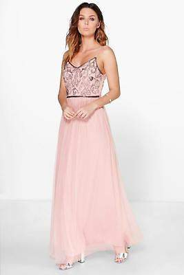 boohoo NEW Womens Boutique Embellished Prom Maxi Dress in Polyester