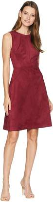 Adrianna Papell Scuba Suede Fit and Flare Women's Dress