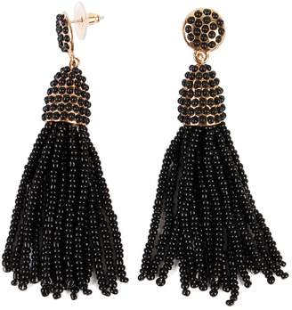 Riah Fashion Czech Beads Tassel Earrings